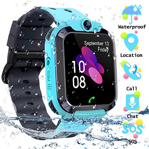 Smartwatch Kinder Tracker Kids Waterproof Kinderuhr Telefon mit SOS Voice Chat Uhr für Kinder(Blue) (Kids-uhren)
