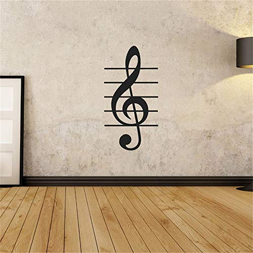 yiyiyaya Wall Room Decor Art Vinyl Aufkleber Home Decor Wandtattoo Music Joy Instrumental Notes Wandtattoo schwarz 58 x 30 cm