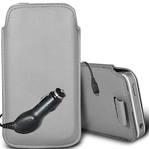 Brun/Brown - Alcatel Pixi 3 3.5 Housse deuxième peau et étui de protection en cuir PU de qualité supérieure à cordon avec stylet tactile par Gadget Giant® Gris/Gray & Car Charger