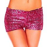 YiZYiF Damen Pailletten Shorts Elastische Shorty reizvolle Glitzer Party Tanz Kurz Hosen Club Tanz Kostüm Rose One Size