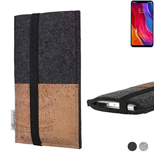 flat.design Handy Hülle Sintra für Xiaomi Mi8 Youth Handytasche Filz Tasche Schutz Kartenfach Case Natur Kork