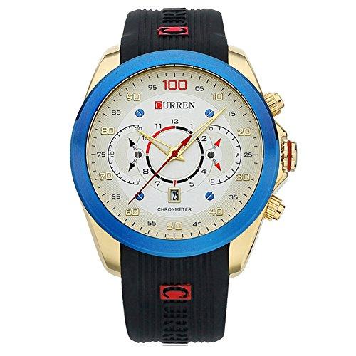 f86f295c6a58 reloj frescas y luminosas de los hombres azul bisel con una gran esfera del  reloj de
