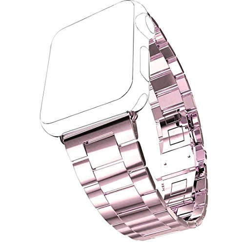 Cinturino Apple Watch, Pugo TOP® 0,2 cm ultra sottile in acciaio inossidabile Grand Series Slim adattarsi acciaio cinturino partita con cassa dell'orologio placcato Apple per Apple watch, cinturino di Apple in stile classico (Champagne oro 42 mm)