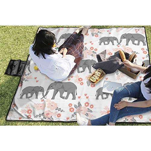 BigHappyShop Picnic Blanket Safari Quilt Elephants with Florals Animals Nursery Cute Coordinate Waterproof Extra Large Outdoor Mat Camping Or Travel Easy Carry Compact Tote Bag - Floral Quilt Backing