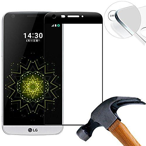Lusee 2 X Pack (vollständige Abdeckung) 3D 9H Panzerglasfolie für LG G5 5.3 Zoll Tempered Glass Bildschirmschutz Screen Folie(Schwarz)
