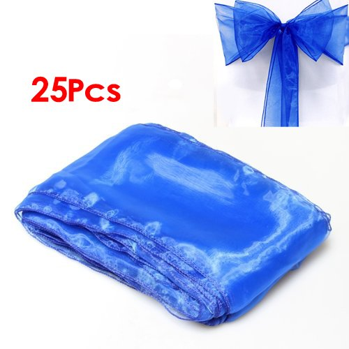copertura della sedia - SODIAL(R) 25 reale Blu Organza della sedia della copertura dei telai di prua per la festa nuziale di compleanno De'cor