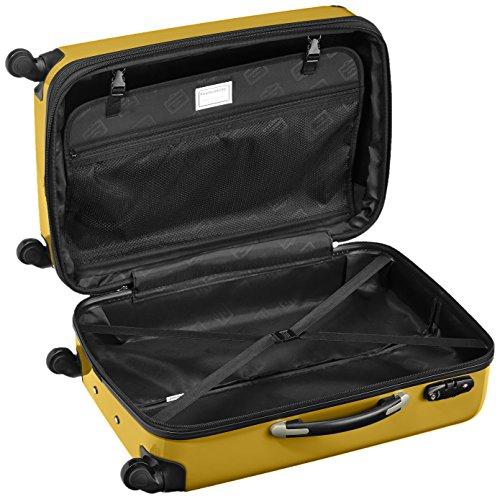 HAUPTSTADTKOFFER - Alex - 2er Koffer-Set Hartschale glänzend, TSA, 65 cm, 74 Liter, Aubergine-Silber Gelb-Orange
