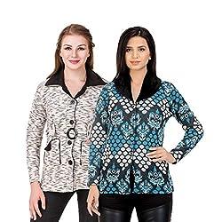 Kritika World Womens Wool Cardigan Dress (COAT_VELVET_BLACK_COAT2_SKYBLUE_Black Skyblue_Medium)