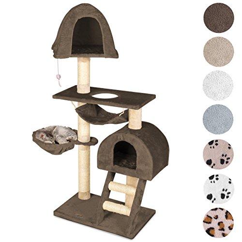 Happypet® Kratzbaum für Katzen 130 cm hoch dicke Säulen mit Sisal ca. 8,0 cm Höhle Liegemulde Hängematte Spielmaus Braun