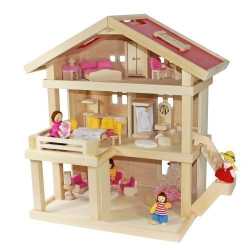 Villa Freda rosé Puppenhaus + Puppenfamilie + Hussen + Puppenhausmöbel 26teilig + Babywiege aus Holz 3 Etagen