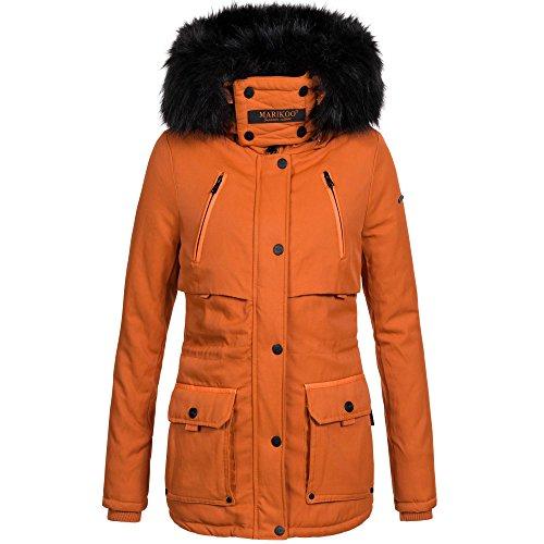 Marikoo warme Damen Winter Jacke Parka Winterjacke Mantel Fell Kragen B393 Orange