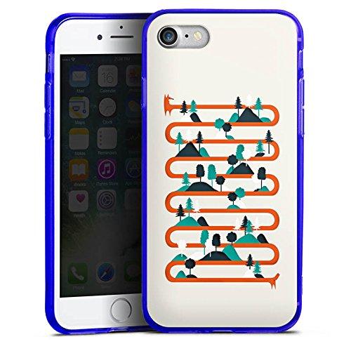 Apple iPhone 7 Silikon Hülle Case Schutzhülle Fuchs Wald Kette Silikon Colour Case blau