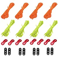 Yababllj 8Pcs 4mm Guy Ropes 13 Feet Reflective Cord Guy Line for Tent Camping Hiking Backpacking Outdoor Activity