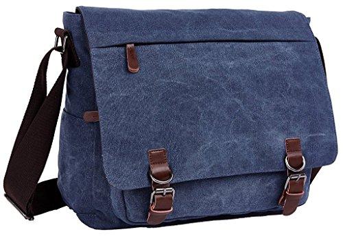 Bdawin Borsa Messenger porta Laptop Borsello da Uomo di Tela a Tracolla da Viaggio,8645 Blu Scuro Blu Scuro