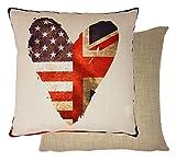 gefüllt Royal Wedding Herz Union Jack Sternenbanner USA Flagge rot blau gewebter 17