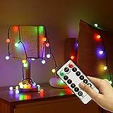 InLife Kugel LED Lichterkette aus Kupferdraht, mit Fernbedienung, 8 Leuchtmodi und Timer, Wasserdicht Batteriebetrieben für Weihnachten(Weihnachtsbaum)/Hochzeit/Party innen und außen (bunt)
