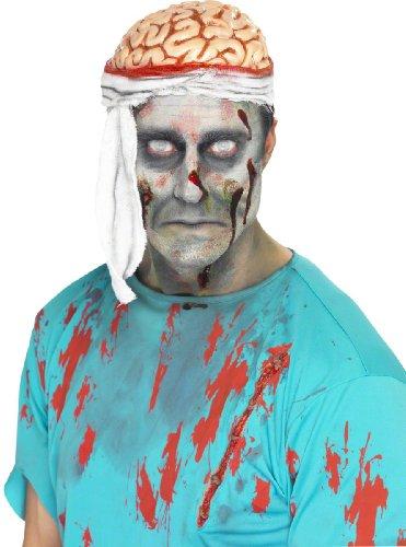 KULTFAKTOR GmbH Zombie Gehirn Mütze Halloween Hut Weiss-Rot Einheitsgröße