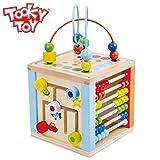 Tooky Toy Bunter 5 In 1 Motorikwürfel Holz-Spielcenter Mit Motorik-Schleife
