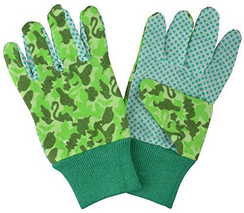 Esschert Design Kinderhandschuhe Camouflage Muster, 11 x 1 x 19 cm, aus Stoff, mit Gummi-Noppen, mit Bund, in grün