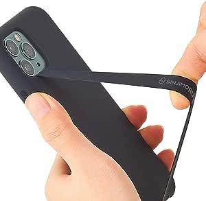 Sinjimoru - Cinturino Elastico in Silicone per Telefono, Sottile, per iPhone, Cinturino Sicuro Come Supporto per Telefono Cellulare, Sinji Loop - Nero