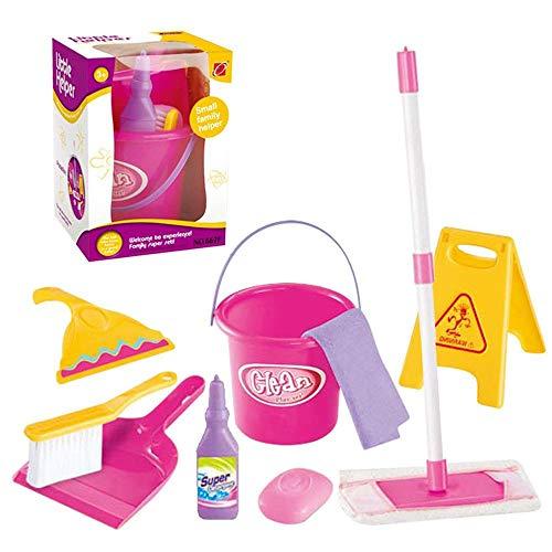 Womdee - set per la pulizia dei bambini, 9 pezzi, con scopa, mocio, spazzola, secchio per bambini, abilità e costruzione di fiducia, materiale sicuro (per età 3-6 anni)