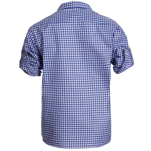 Herren Set Lederhose Dunkelbraun und Trachtenhemd Blau Weiß Kariert Gr. Hose 46 Hemd S - 4
