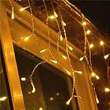 VINGO LED Eisregen Lichternetz Lichterkette Wasserdicht für Wedding Weihnachten Festlich außen Schaufenster (600leds Warm-weiss)