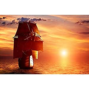 PB Ancient Pirate Ship Sailing On The Ocean At Sunset Peel & Stick Vinyl Wall Sticker Decal 48 x 32inch