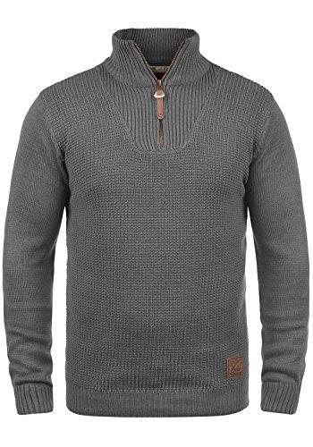 !Solid Tommy Herren Strickpullover Troyer Feinstrick Pullover Mit Stehkragen und Reißverschluss, Größe:S, Farbe:Grey Melange (8236) -