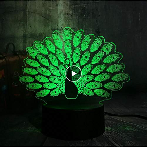 Nachtlichter New Peacock Peahen Open Screen 3D Nachtlicht House Decor LED Weihnachten Tischlampe 7 Farbwechsel Fernbedienung Kid -