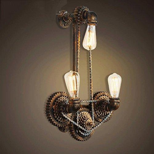 FHK,lampade da parete vento industriale nostalgia retrò lampada da parete a tre tubo della catena creativa personalità di ferro marcia barra della bicicletta parete luci murali decorativi