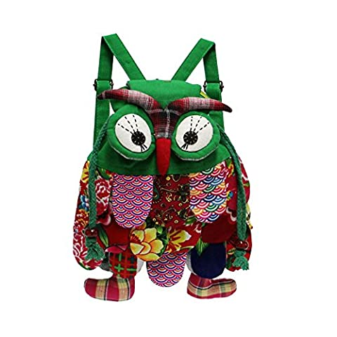 Nicetage Enfant 3D Sac à Dos Cartable Mignon Animal Hibou Chouette Ethnique National Voyage Sac à Main pour Bébé de Jardin d'enfants Petit Garçons Filles Light Green