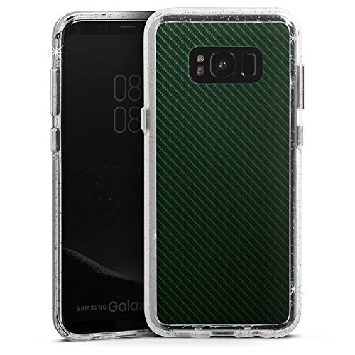 Stripe Carbon-rahmen (DeinDesign Samsung Galaxy S8 Plus Bumper Hülle Bumper Case Glitzer Hülle Schwarz Black Stripes)