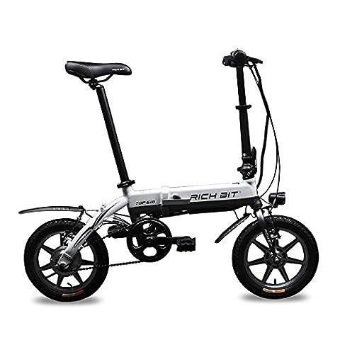 Rich Bit® RT 618 Electric Bike eBike Folding Bicycle Cycling 250W*36V 8Ah LG Battery 14inch Wheel City Commute Bike Long Duration New fashion Painting White