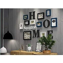 Ammon Lowen Photo Mur Cadre Photo Organiser Collage de Cadre Photo Ensemble de Bois Massif Salon Cadre Mural créatif Décoration Murale de Fond (Bleu)