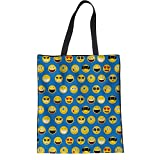 ZXXFR Mode Messenger Bags Für Damen Frauen Reisen Shopping Hand Lässig Leinen Beutel 3D Emoji Gesicht Drucken Jugendlich Mädchen (, 42X34X1.5Cm), Blau