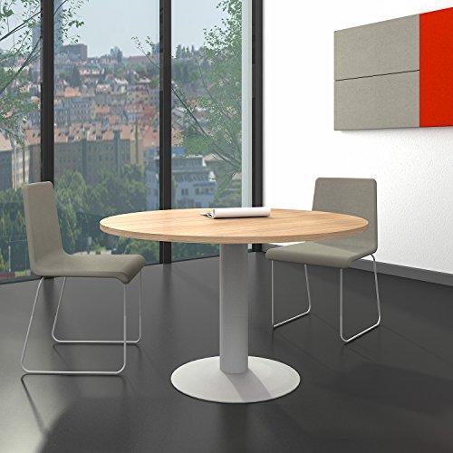 Weber Büro OPTIMA runder Besprechungstisch Ø 120 cm Bernstein-Eiche Silbernes Gestell Tisch...