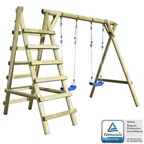 guyifuzhuangs Schaukelgestell mit Leitern 268 x 154 x 210 cm Kiefernholz Spielzeuge & Spiele Spielzeug für draußen Schaukeln & Spielplatzgeräte