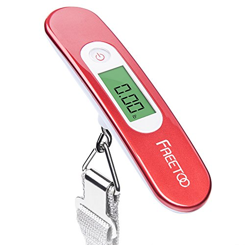 Image of FREETOO Luggage Scale Portable Digital Travel Suitcase Scales Weights with Tare Function for Travel Outdoor Home 110 lb/ 50KG Capacity Red