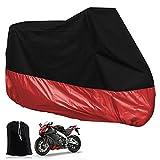 Moto Bâche - Pour Moto VTT Scooter extérieure étanche - Housse de protection de moto Pliant - 265x105x125 CM - Noir/Rouge