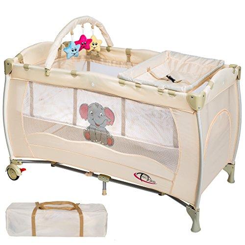 TecTake Cuna infantil de viaje portátil altura ajustable con acolchado para bebé beige