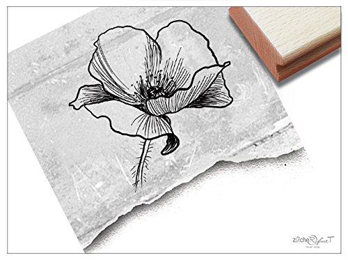 Stempel - Blume Mohnblume Fineline Florale - Motivstempel Bildstempel Karten Einladungen Briefe Servietten Basteln Kunst Deko - von zAcheR-fineT
