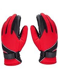 El invierno caliente de la manera de los hombres 's deportes guantes del montar a caballo de viento Guantes Calientes, además de terciopelo que espesa guantes de deportes ( Color : Rojo )
