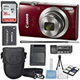 Best Selling Canon PowerShot ELPH 180 Digital Camera (Red) + 16GB SDHC Memory Card + Mini Table Tripod +Protective camera case with Deluxe Cleaning Bundle be sure to Order Now