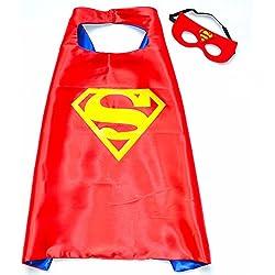 Superman Rojo Super Héroes de disfraces para niños - Cape y máscara - Juguetes para niños y niñas - Disfraz para niños de 3 a 10 años - para Super Held Fiestas. Mungo - King - kmsc020