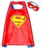 Superman cape et masque–Rouge Super Héros de Costumes pour enfants–Jouets pour fille et garçon–costume pour enfants de 3à 10ans–pour les Super Héros Devise Fêtes.–King Mungo–kmsc020