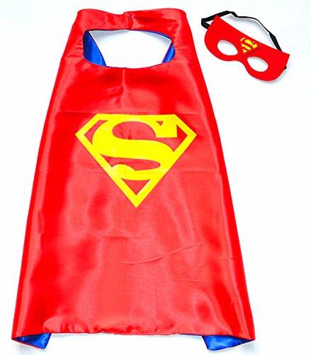 Superman Cape und Maske - Rot Superhelden-Kostüme für Kinder - Spielsachen für Jungen und Mädchen - Kostüm für Kinder von 3 bis 10 Jahre - für Superheld Mottopartys! - King Mungo - KMSC020