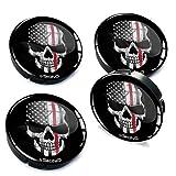 Skino 4 x 60mm Coprimozzi Copricerchi Tappi Ruote Teschio Skull con 3D Gel Adesivi Resinati Stickers Auto Logo Silicone Autoadesivo Stemma Adesivo C 32