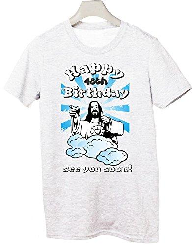 Tshirt Compleanno Happy 48th birthday see you soon - Buon 48esimo compleanno ci vediamo presto - jesus - humor - idea regalo - in cotone Bianco