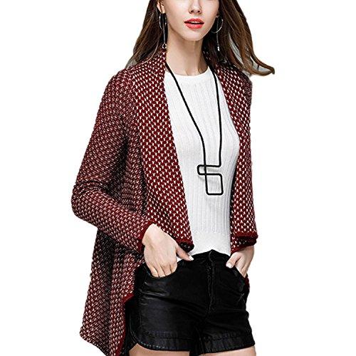 Cape Femme JLTPH Cardigan Asymetrique Femme Veste en Motif Manteau Automne à Manches Longues Outwear Gilet Ouvert Jaquette Kimono Top color1